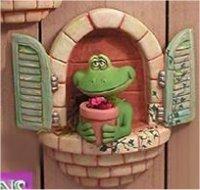 """Window Frog w/FlowerPot 8.5""""T"""