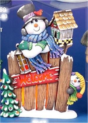 "CPI Welcome Snowmen w/Fence 14.5""T"