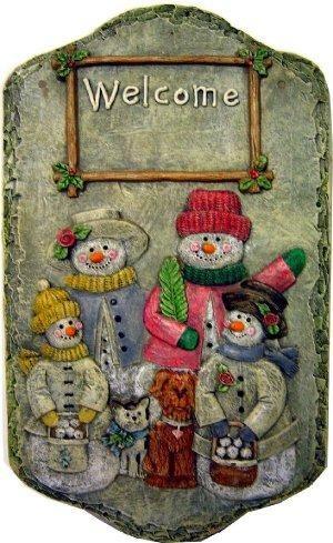 """DH Snowmen Welcome Plaque 12""""T"""