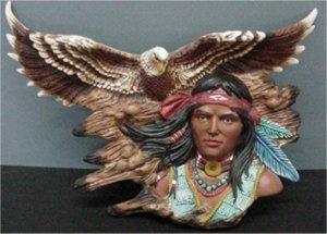 """Brave Eagle Wall Plaque 16""""L"""