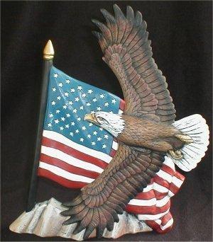 """Eagle w/Flag 11.5""""T"""