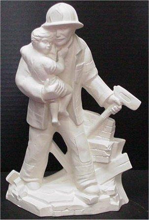 "Fireman w/Child 12""t"