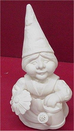 Gnome Lady w/Flower & Watercan 13""