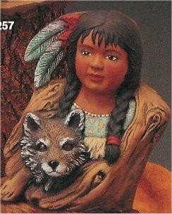 "Little Dove w/Wolf Pup 9""T"