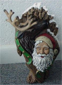 Santa & Deer Woodcarved 9.5""