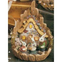 "Carved Easter Village 9.5""T"
