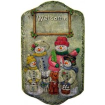 "DH Snowmen Welcome Plaque 12""T"