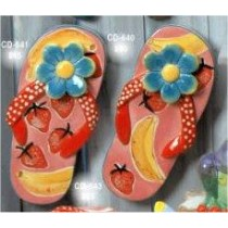 "Flip Flop w/Flowers Set 9.5""L Unpainted"
