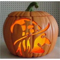 "Carved Witch Pumpkin Lite Up 9"" T"