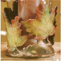 "Mayco Leaf Candle holder7.5""t x 6.5""w"