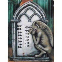 "Gargoyle Thermometer Plaque 13""tx9""w"