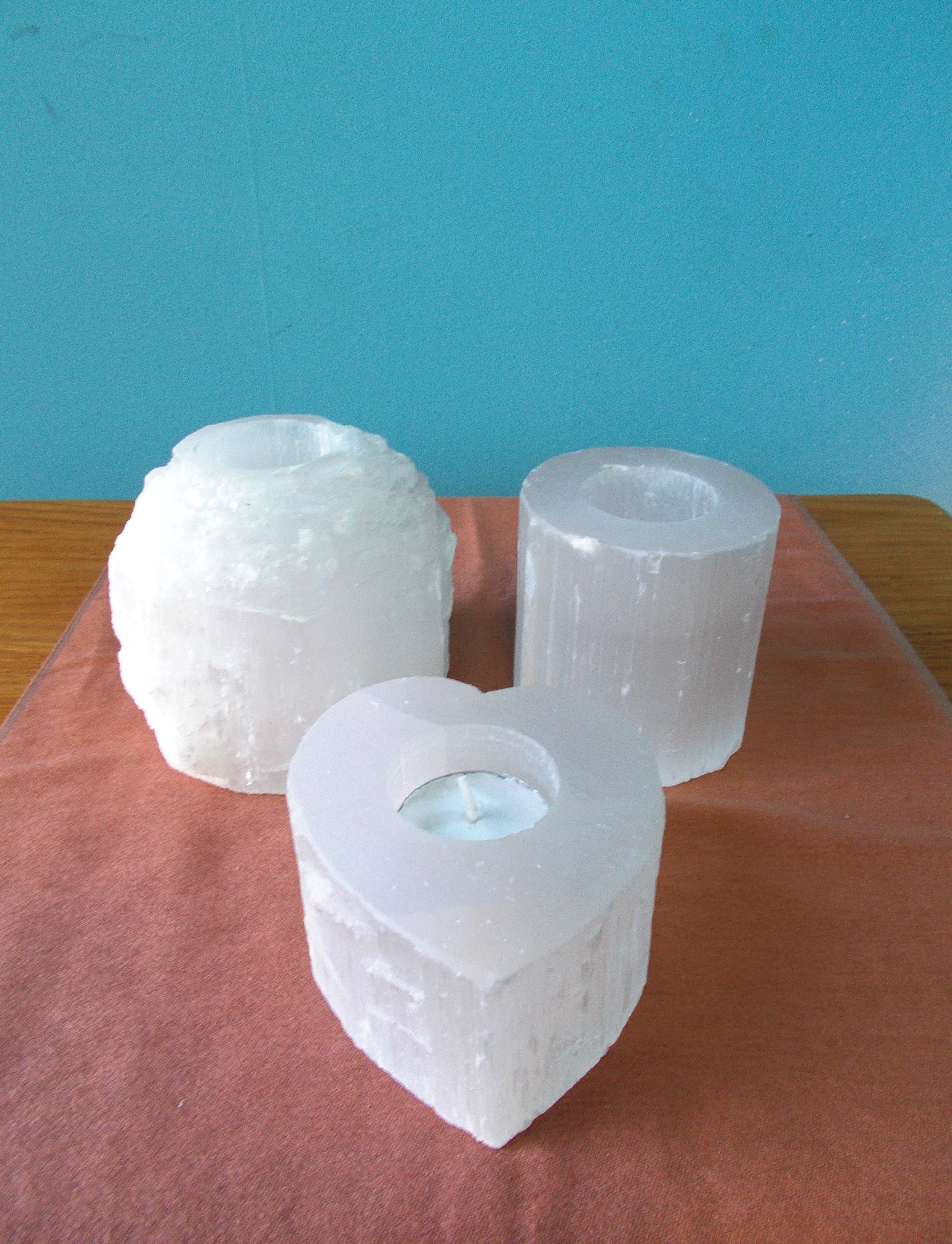 Selenite Smooth Candle Holder