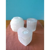 Selenite Rough Candle Holder