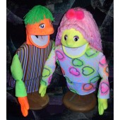 Blacklight  economy boy and girl puppet set
