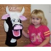 black & white cow puppet