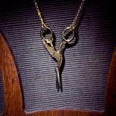 Stork Scissors Necklace - Gold Vermeil